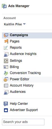 Facebook Ads Sidebar Menu